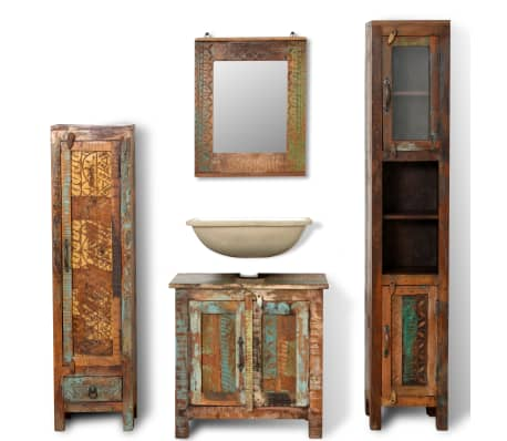 Reclaimed Solid Wood Vanity Cabinet Set With Mirror 2 Side Cabinets Vidaxl Ie