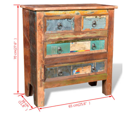 vidaXL Reclaimed Cabinet Solid Wood with 4 Drawers[12/12]
