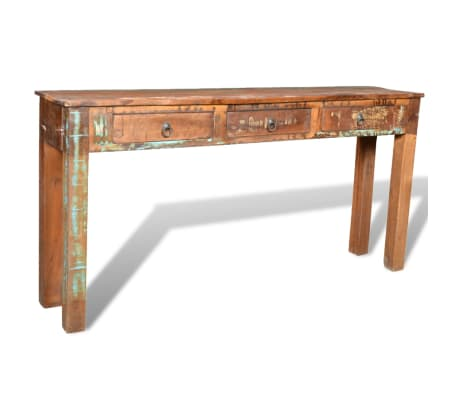 vidaXL Console Table with 3 Drawers Reclaimed Wood[11/12]