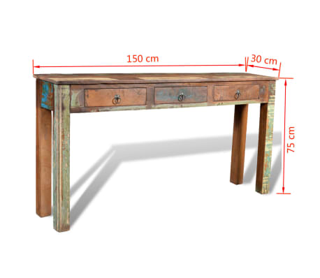 vidaXL Console Table with 3 Drawers Reclaimed Wood[12/12]