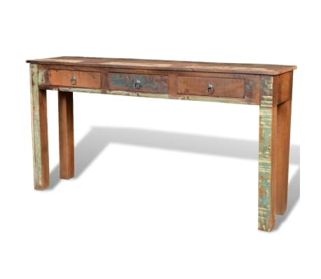vidaXL Console Table with 3 Drawers Reclaimed Wood[4/12]