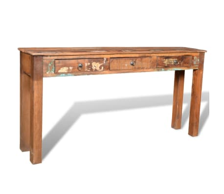 vidaXL Console Table with 3 Drawers Reclaimed Wood[10/12]