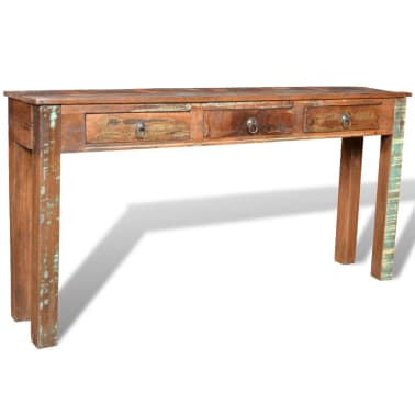 vidaXL Console Table with 3 Drawers Reclaimed Wood[9/12]