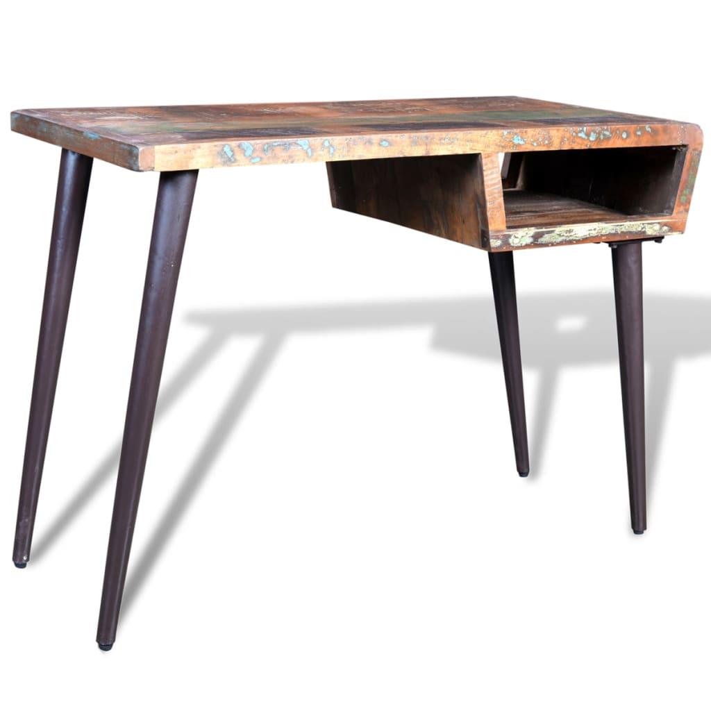 vidaXL Γραφείο από ανακυκλωμένο ξύλο με σιδερένια πόδια