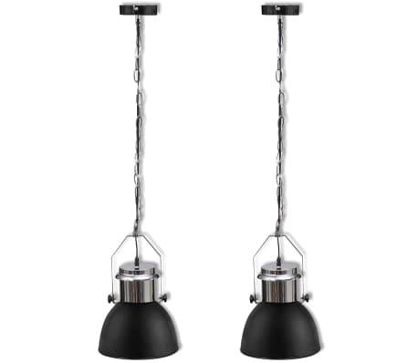vidaXL Plafondlampen in hoogte verstelbaar modern metaal zwart 2 st[2/12]