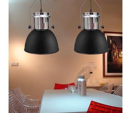 vidaXL Plafondlampen in hoogte verstelbaar modern metaal zwart 2 st[7/12]