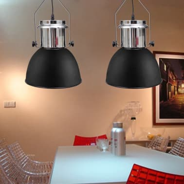 vidaXL Plafondlampen in hoogte verstelbaar modern metaal zwart 2 st[3/12]