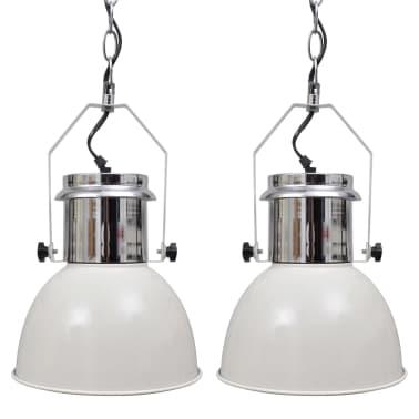 vidaXL Lámpara de techo altura ajustable moderna metal blanco 2 uds[1/12]
