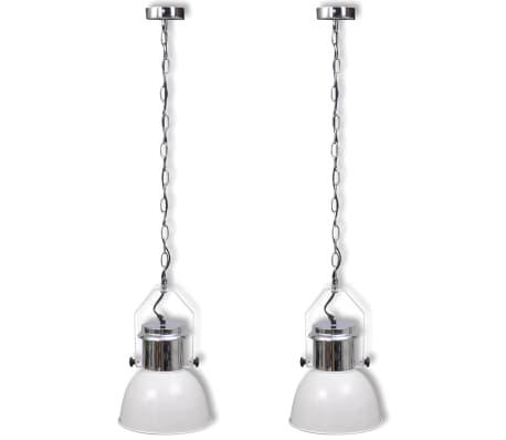 vidaXL Lámpara de techo altura ajustable moderna metal blanco 2 uds[2/12]