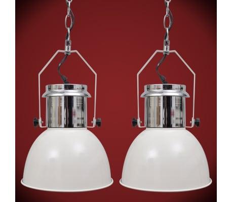 vidaXL Plafondlampen in hoogte verstelbaar modern metaal wit 2 st[8/12]