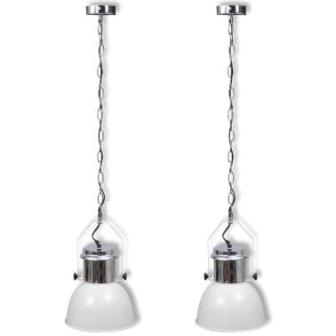 vidaXL Plafondlampen in hoogte verstelbaar modern metaal wit 2 st[2/12]