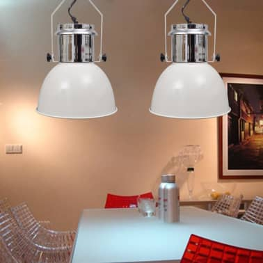 vidaXL Lámpara de techo altura ajustable moderna metal blanco 2 uds[3/12]