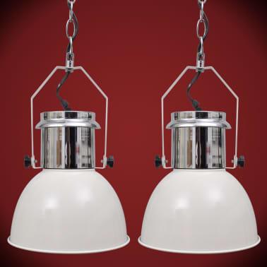 vidaXL Lámpara de techo altura ajustable moderna metal blanco 2 uds[8/12]
