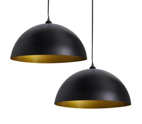 vidaXL Lámpara de techo altura ajustable semiesférica negra 2 unidades[2/11]