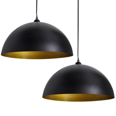 vidaXL Plafondlampen in hoogte verstelbaar halfrond zwart 2 st[2/11]