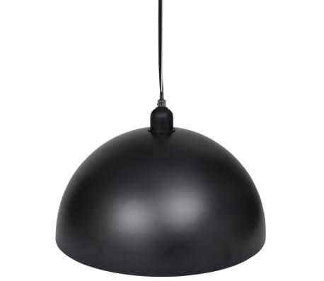 vidaXL Lámpara de techo altura ajustable semiesférica negra 2 unidades[6/11]