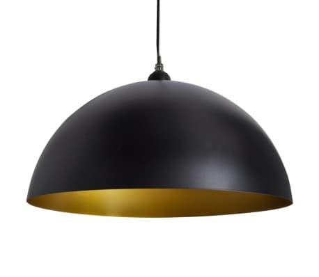 vidaXL Lámpara de techo altura ajustable semiesférica negra 2 unidades[7/11]