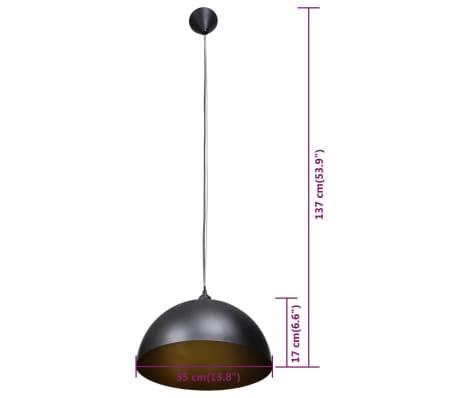 vidaXL Lámpara de techo altura ajustable semiesférica negra 2 unidades[9/11]
