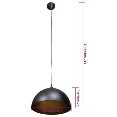 vidaXL Plafondlampen in hoogte verstelbaar halfrond zwart 2 st[9/11]