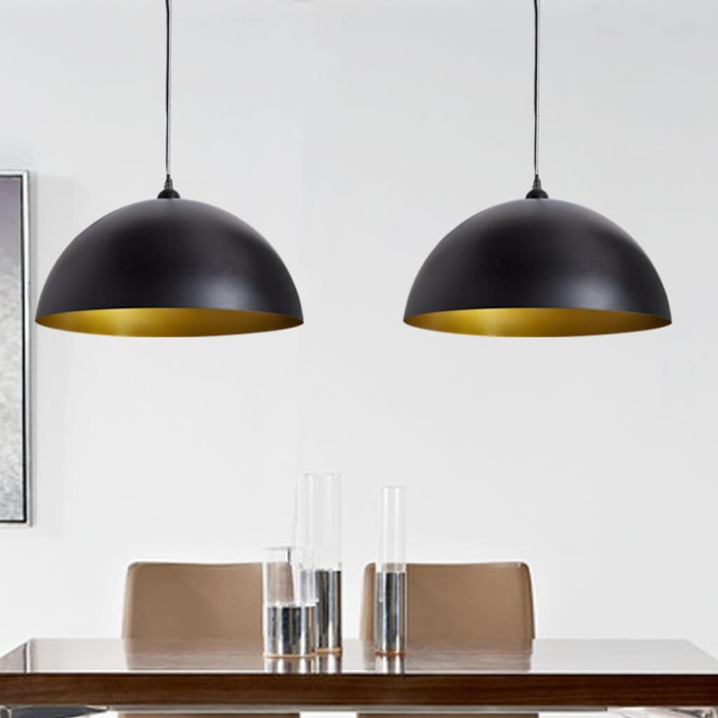 Stropní svítidla polokulového tvaru, černá 2 ks
