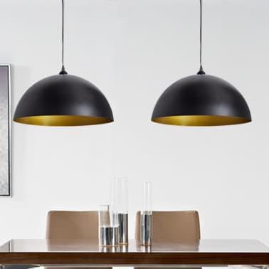 vidaXL Lámpara de techo altura ajustable semiesférica negra 2 unidades[1/11]
