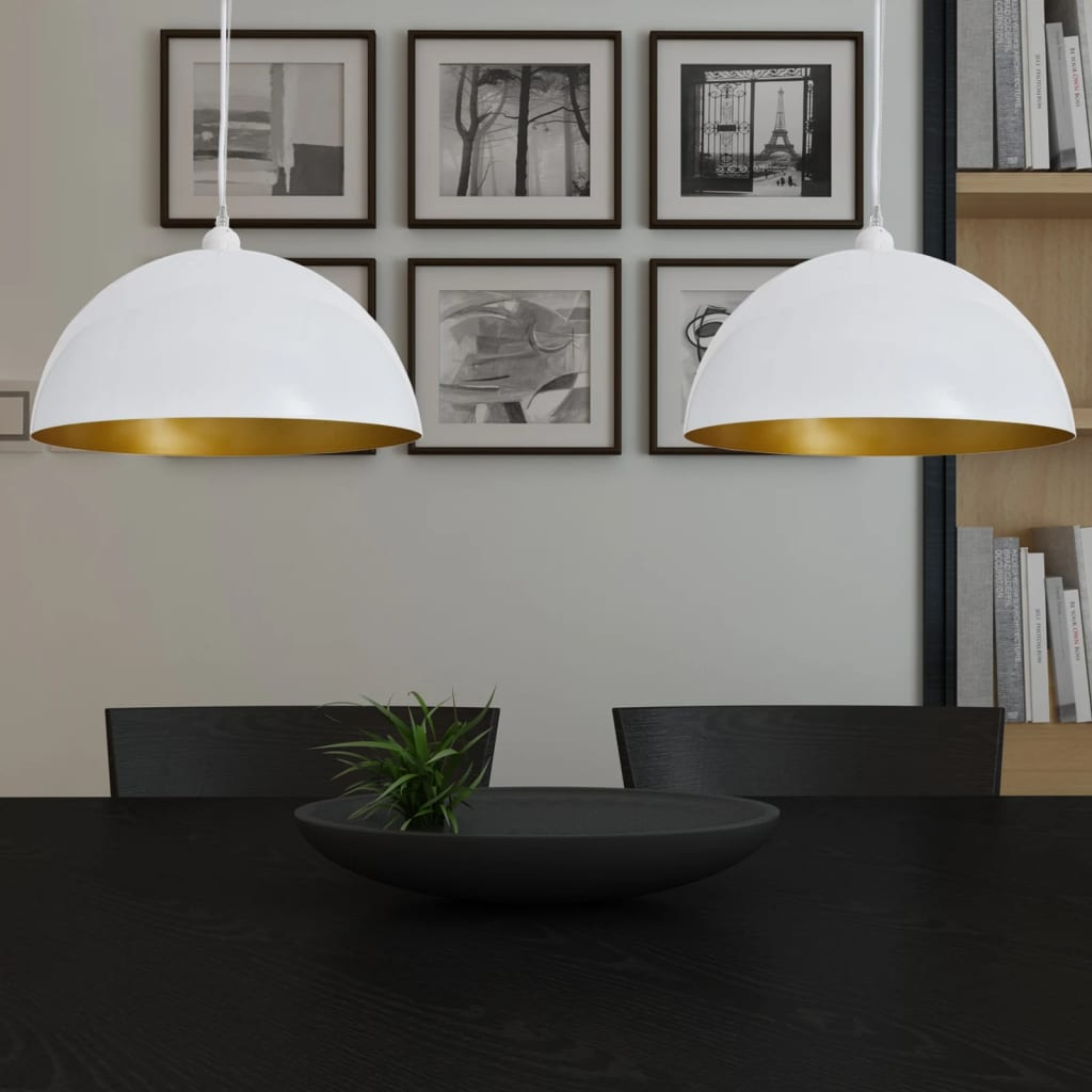 Stropní lampa polokoule 2 ks s nastavitelnou výškou bílá