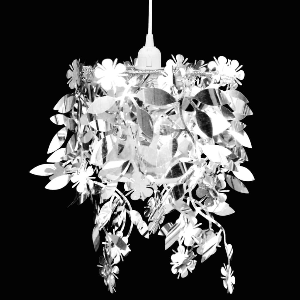 Závěsné svítidlo lustr s třpytivým listy, 21,5 x 30 cm, stříbrné