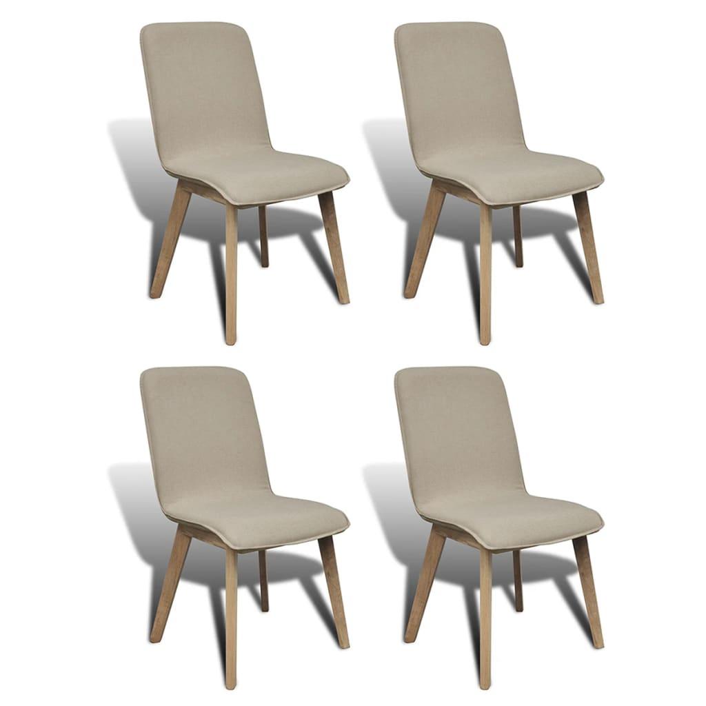 vidaXL Καρέκλες Τραπεζαρίας 4 τεμ. Μπεζ Υφασμάτινες / Μασίφ Ξύλο Δρυός