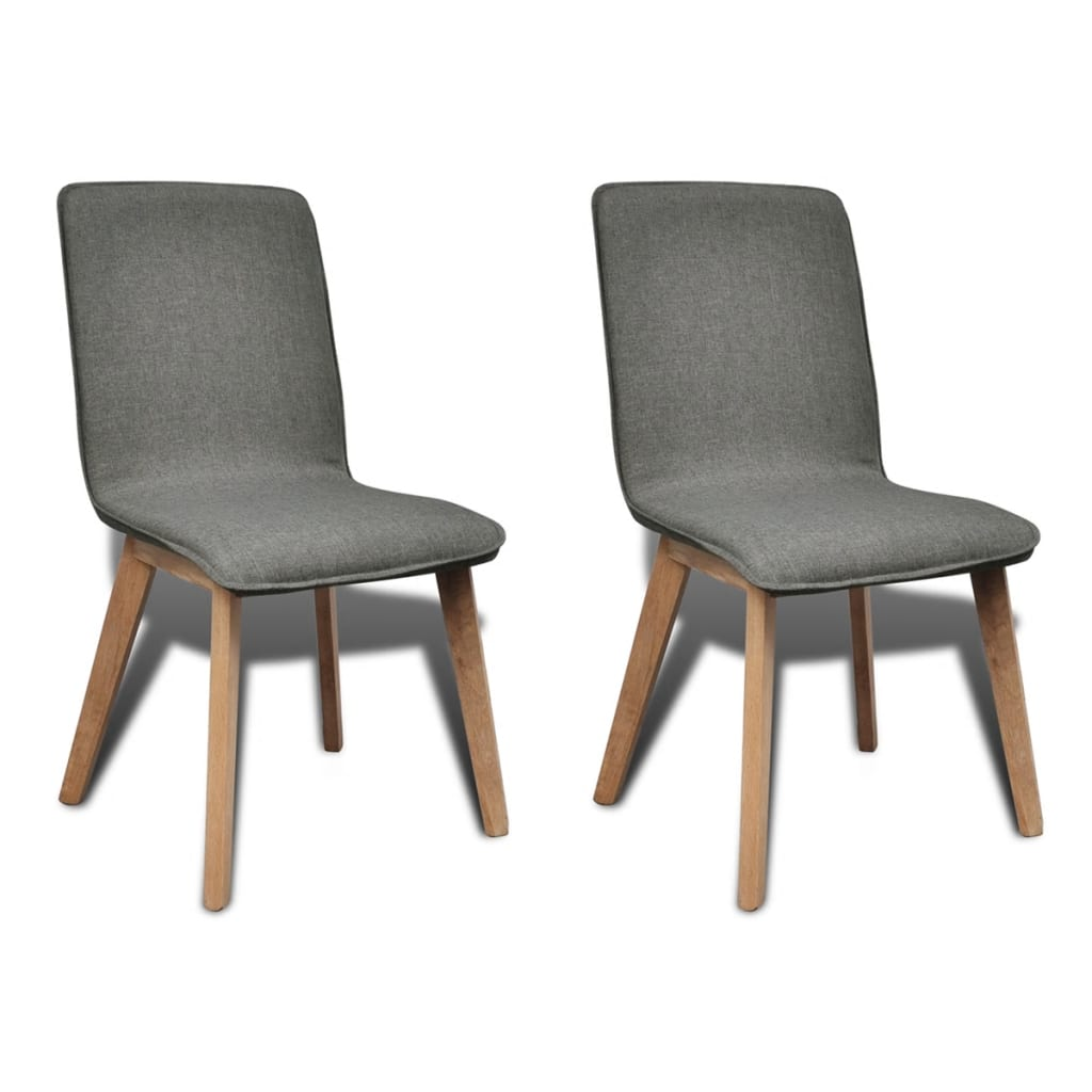vidaXL Καρέκλες Τραπεζαρίας 2 τεμ Ανοιχτό Γκρι Ύφασμα/Μασίφ Ξύλο Δρυός