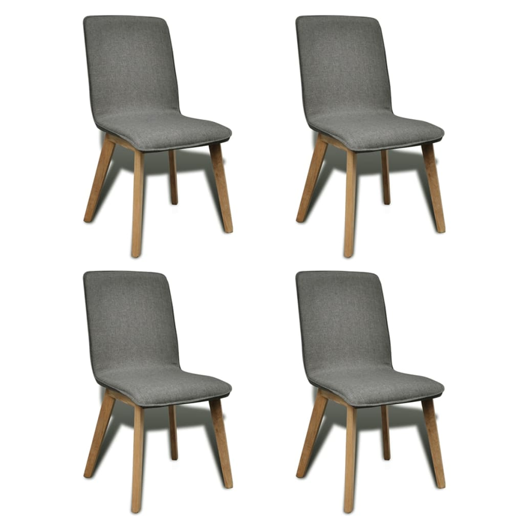 vidaXL Oak Indoor Fabric Dining Chair Set 4 pcs Dark Grey