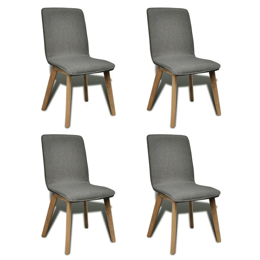 vidaXL Καρέκλες Τραπεζαρίας 4 τεμ Ανοιχτό Γκρι Ύφασμα/Μασίφ Ξύλο Δρυός