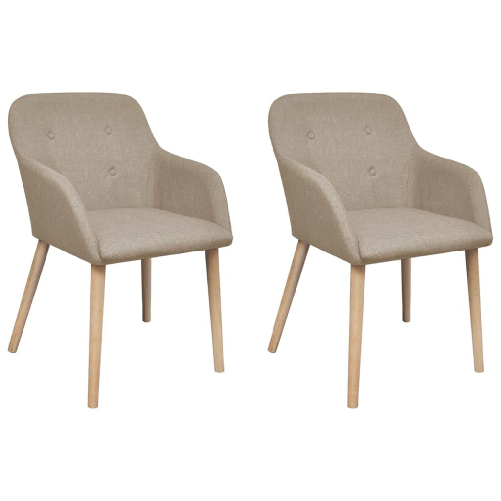 vidaXL Καρέκλες Τραπεζαρίας 2 τεμ. Μπεζ Υφασμάτινες / Μασίφ Ξύλο Δρυός