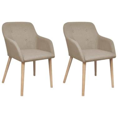 vidaXL Blagovaonske stolice od tkanine i masivne hrastovine 2 kom bež[1/6]