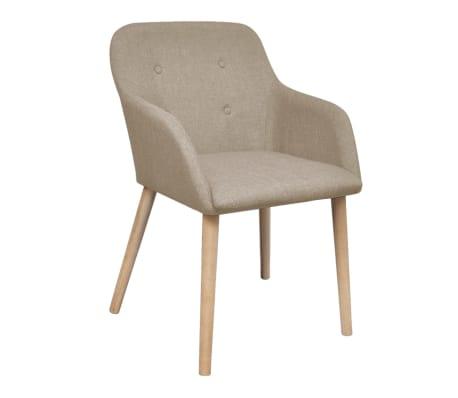 vidaXL Blagovaonske stolice od tkanine i masivne hrastovine 2 kom bež[2/6]