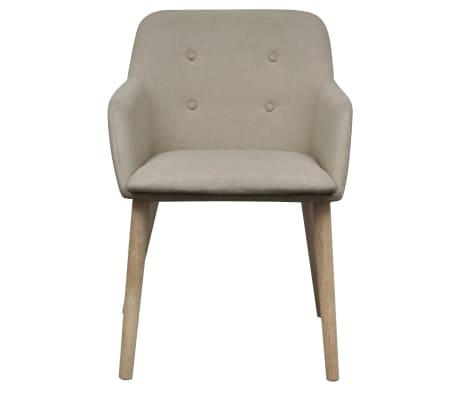 vidaXL Blagovaonske stolice od tkanine i masivne hrastovine 2 kom bež[3/6]