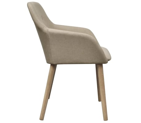 vidaXL Blagovaonske stolice od tkanine i masivne hrastovine 2 kom bež[4/6]