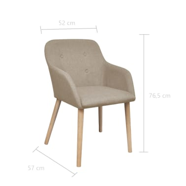 vidaXL Blagovaonske stolice od tkanine i masivne hrastovine 2 kom bež[6/6]