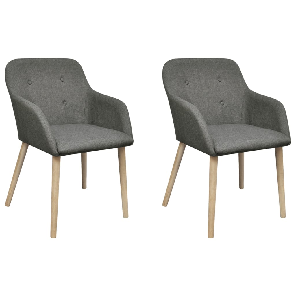 vidaXL Oak Indoor Fabric Dining Chair Set 2 pcs with Armrest Dark Grey