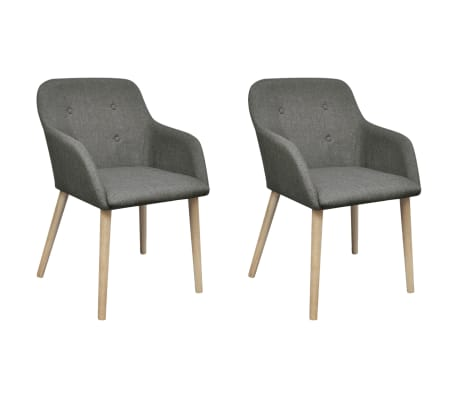 vidaXL Dining Chairs 2 pcs Light Grey Fabric and Solid Oak Wood