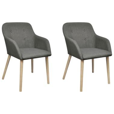 vidaXL Sillas de comedor 2 uds tela gris claro y madera maciza roble[1/6]