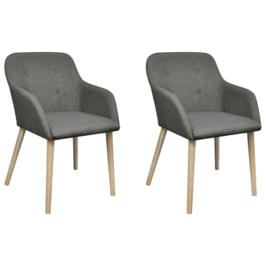 vidaXL Blagovaonske stolice tkanina i hrastovina 2 kom tamno sive[1/7]