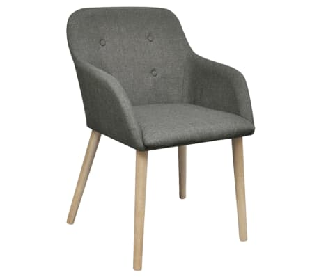 vidaXL Sillas de comedor 2 uds tela gris claro y madera maciza roble[2/6]