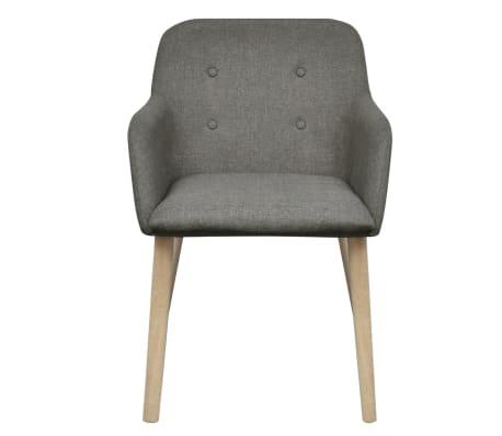 vidaXL Blagovaonske stolice tkanina i hrastovina 2 kom tamno sive[3/7]