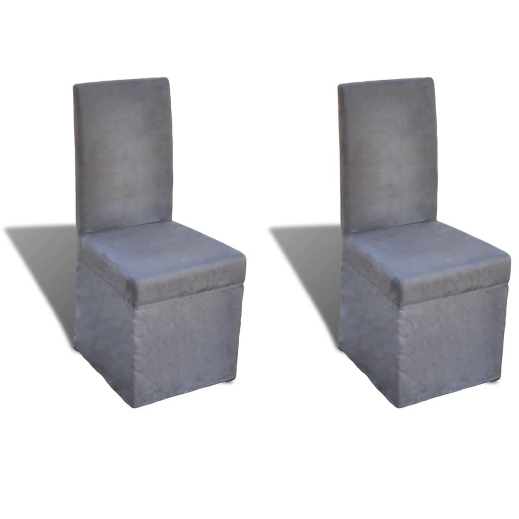 vidaXL Jídelní židle 2 ks tmavě šedé textil