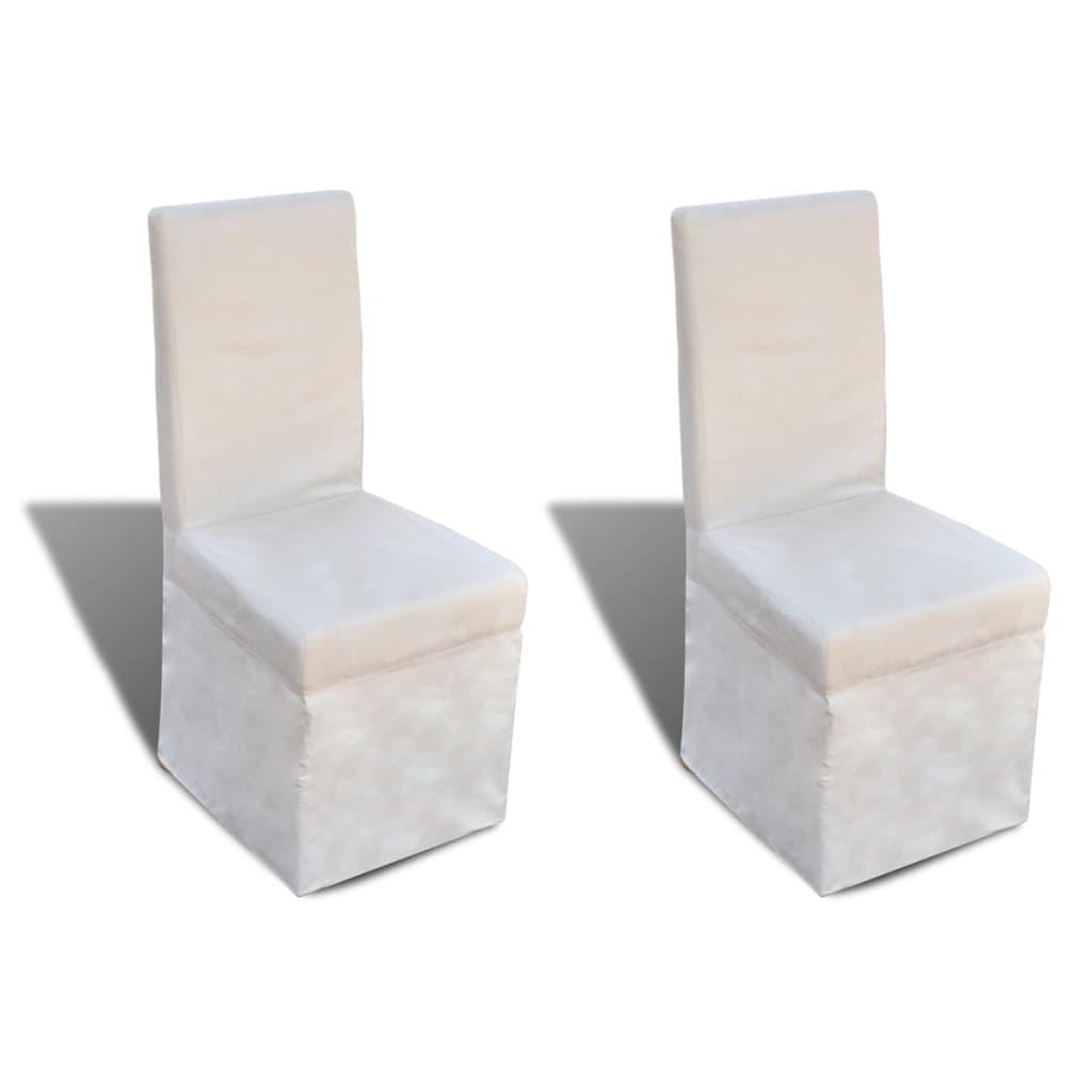 vidaXL Jídelní židle 2 ks krémové bílé textil