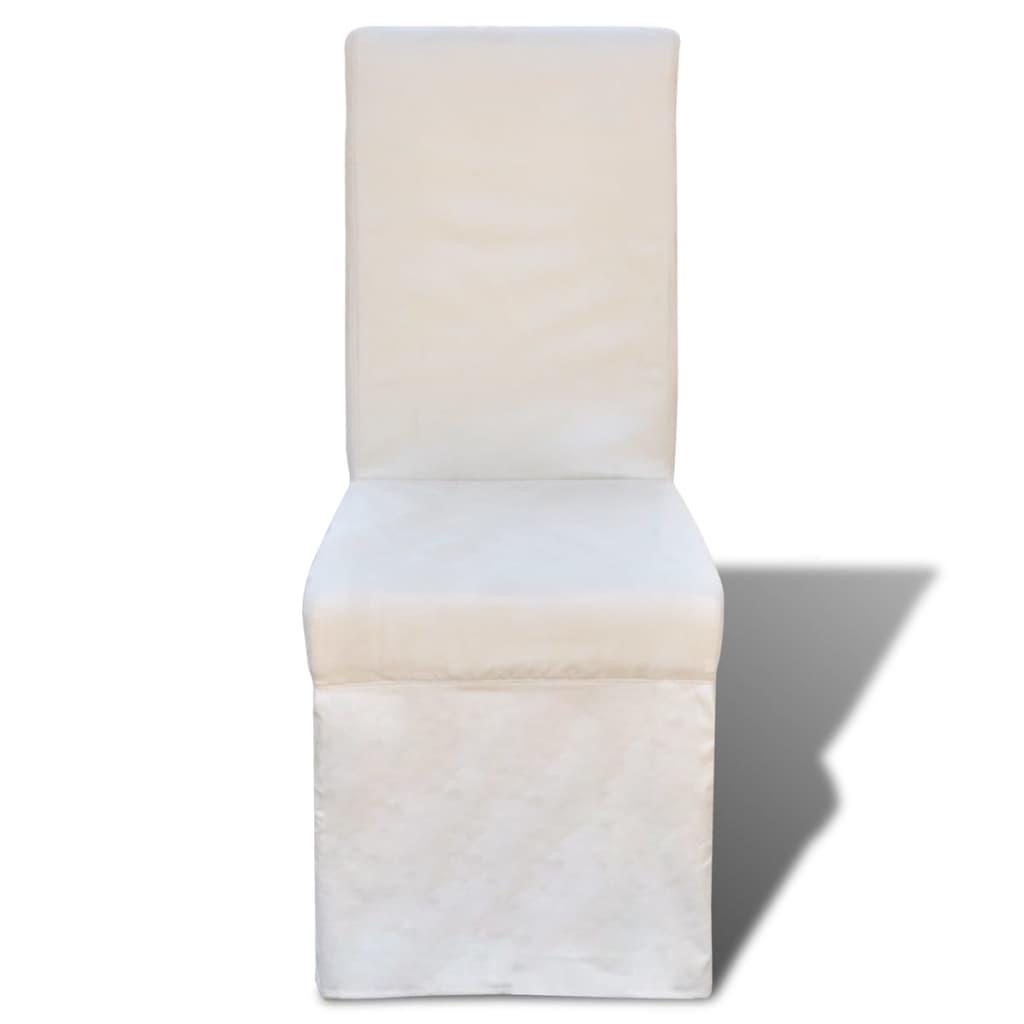 Stoelen vidaXL Eetkamerstoelen vierkant stof crèmewit 4 st met veel voordeel Eetkamerstoelen