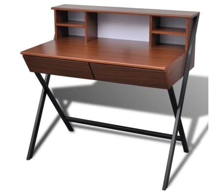 Brown Workstation Computer Desk with 2 Drawers[2/7]