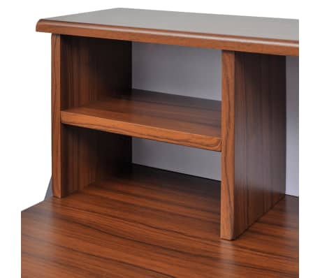 Brown Workstation Computer Desk with 2 Drawers[3/7]