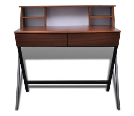Brown Workstation Computer Desk with 2 Drawers[6/7]