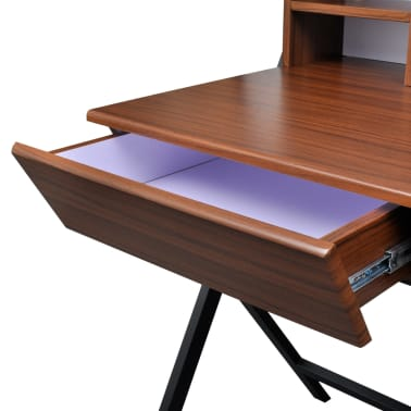 Brown Workstation Computer Desk with 2 Drawers[4/7]